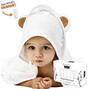 Premium Bamboo Hooded Baby Towel with BONUS WashCloth Set | 100% Organic Bamboo | 500 GSM Extra Soft & Super Absorbent | Baby Bath Towel | Boys, Girls, Infants & Toddlers | Perfect Baby Shower Gift