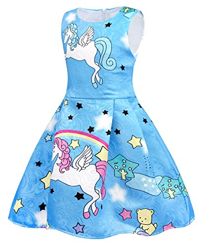 Cotrio Rainbow Unicorn Dress for Little Girls Birthday Party Dress Up Toddlers Casual Dresses Size 6 (5-6Years, Blue with Stars) by Cotrio (Image #2)