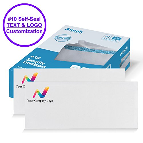 #10 Custom PRINTED Security Business Self-Seal Envelopes, No Window, Premium Security Tint Pattern, TEXT and LOGO Customization - 4-1/8 x 9-1/2 Inch - White - 24 LB - 500 Count (72527) by Aimoh