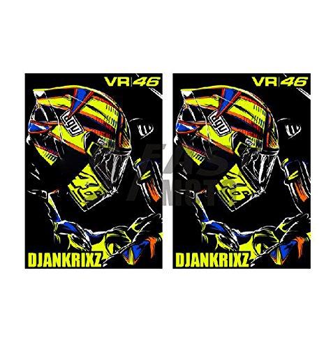9FastMoto Helmet Motorcycle Sticker Decals for Honda Suzuki Yamaha Kawasaki Ducati Bmw Aprilia Triumph Motorbike Racing Decals Vinyl LOGO Decal (VR 46)