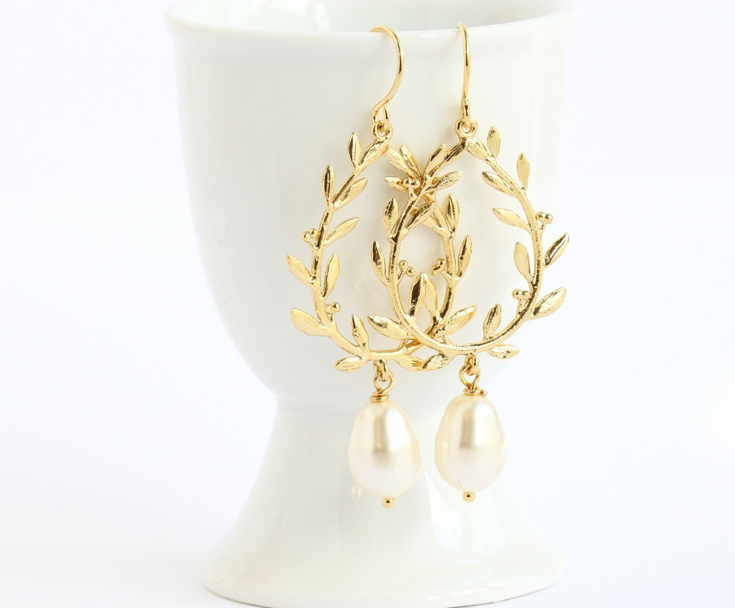 Gold Plated Laurel Dangle Earrings With Ivory Simulated Pearls