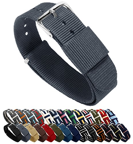 BARTON Watch Bands - Choice of Color, Length & Width (18mm, 20mm, 22mm or 24mm) - Smoke Grey 20mm - Standard ()