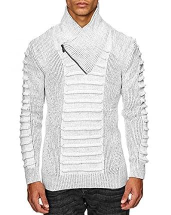 sélection premium adce1 279e6 BestStyle - Pull col châle homme blanc en laine pas cher a ...