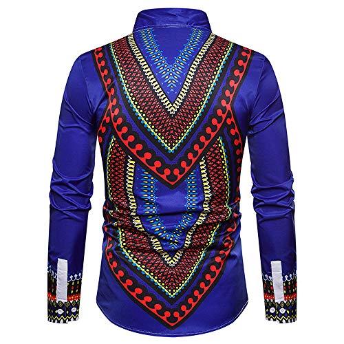bleu Slim A Chemises Grande Bohémien Imprimer Ethnique Manteau Blouse Automne Blouson Parka Fête Africain Plage Style Mode Taille Lâche Hommes Piebo q8wfHxRBW