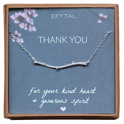 EFYTAL Thank You Branch Necklace, Sterling Silver Dainty Horizontal Twig Jewelry Gift Women Girls