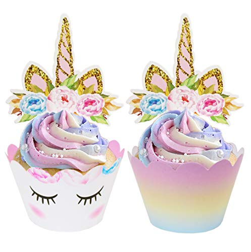 ecoZen Lifestyle Unicorn Cupcake Toppers and Wrappers Decorations (30 of Each) - Reversible Rainbow Cup Cake Liners with Unicorn Topper | Cute Decorating Supplies for Girl Birthday Party (Cupcake Cups Party)