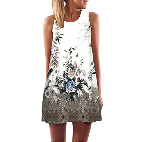 Clearance! Ruhiku GW Womens Dress Summer O-Neck Boho Sleeveless Floral Printed Beach Mini Dress Casual T-Shirt Short Dress (XL, G) (Ladies Dresses Casual)