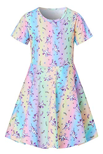 Dress Up Girl Daily Sundress Unicorn Toddler Short Sleeve Party Outfits Cute Animal Easter Colorful Rainbow Dresses Swing Kids School Apparel Summer Vacation Playwear Size -