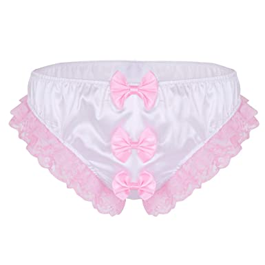 1cdf2a2f1ebf TiaoBug Men's Frilly Lace Trim Sissy Maid Underwear Polka Dots Bow Xdress  Panties White Medium