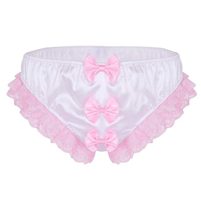 TiaoBug Hombres Lencería de Encaje Color Rosa/Blanco Calzones Cintura Baja Sexy con Tres Lazos