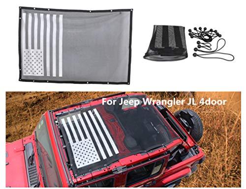 4-Door Top Proof Sun Shade Sunshade Mesh Net Cover, for Jeep Wrangler JL 4-door 2018 Up (USA Flag black white) 【10 YEARS ()
