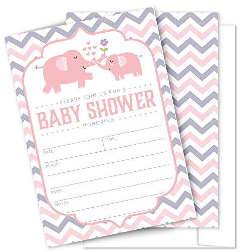 (Pink Elephant Baby Shower Invitations - 25 High Quality Elephant Theme Invitations with Envelopes for Girl Birthday, Baby Shower by)