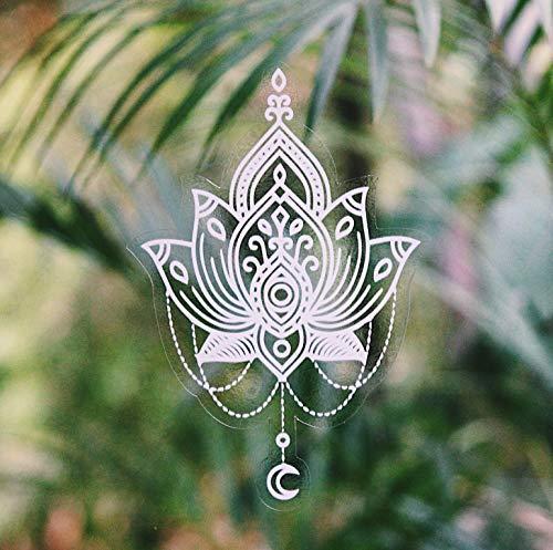 (Beautiful Hand Designed Mandala Sticker White Lotus Flower - 7