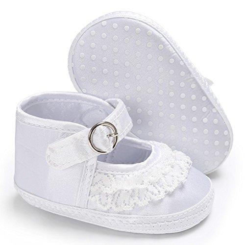 BOBORA Bebe Nina De Encaje Lindo Leopardo Zapatos De Cuna De Impresion Suave Prewalker Suave Suela Antideslizante Zapatos blanco
