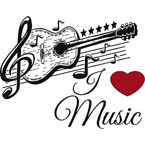Musical de Vinilo Para Pared Música adhesivo Guitarra patrón para la escuela estudio decoración del hogar