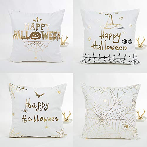 LEIOH Gold Stamping Print Happy Halloween Skull Pumpkin