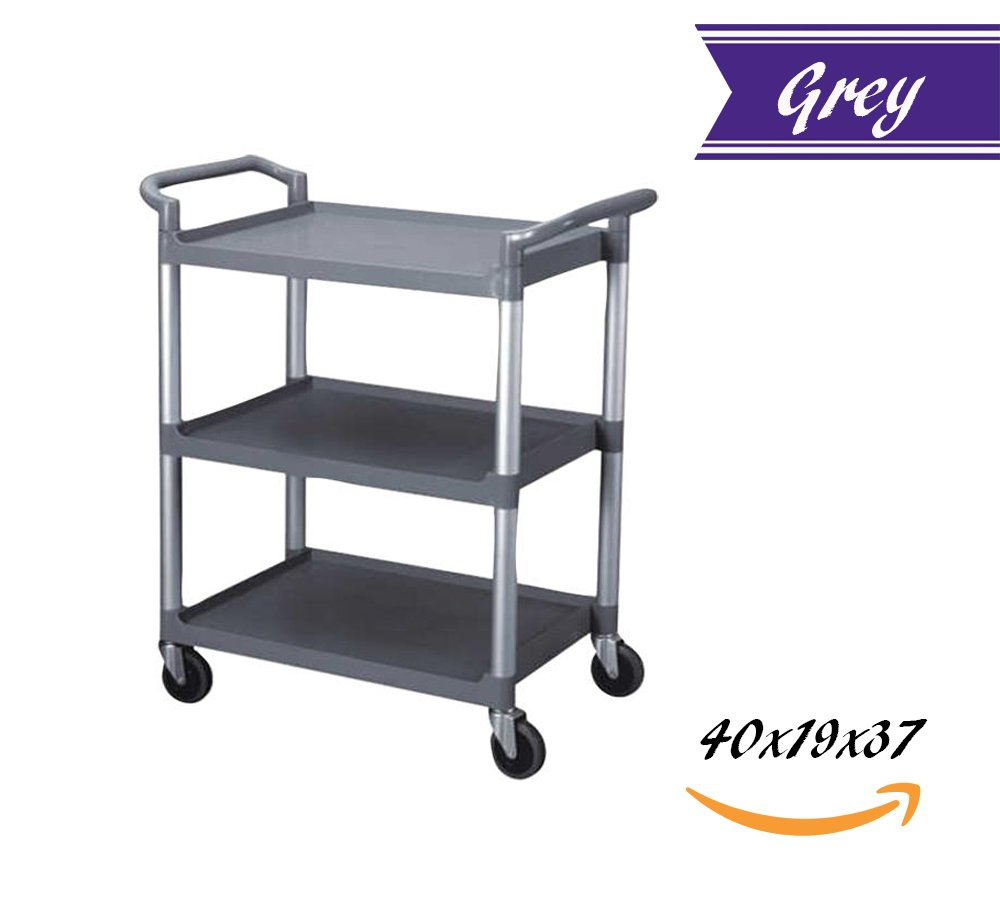 Utility Rolling Heavy Duty 3 Tier Bus Cart 350 lbs Load with Open Shelving 40-1/2''L x 19-3/4''W x 37-7/8''H, Easy-Grip Both Side Handles and Swivel Wheels, Plastic and Aluminum (Grey)