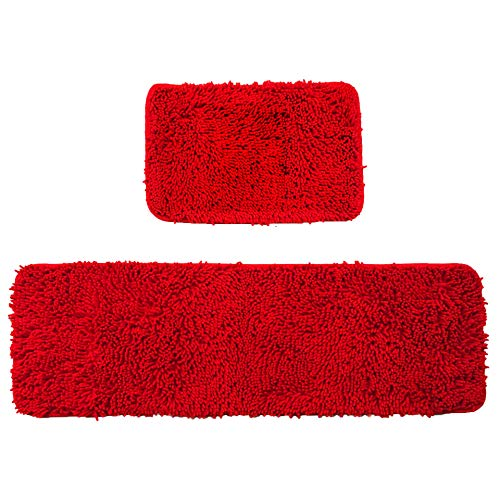 Wolala Home 2 pcs Sets Strong Absorbent Non-Slip Kitchen Rug and Carpet Super Soft Chenille Shaggy Latex Backing Solid Home Decorator Small Floor Mats (16''x24''+16''x47'', Red) (Bath Mat Bright Red)