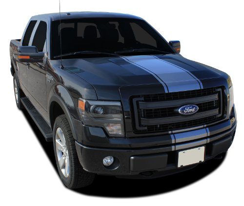 F-150 CENTER STRIPE : 2009-2014 Ford F-150 Series Wide Center Hood Roof Tail Gate Vinyl Graphic Decal Stripes (Fits F-150 Models) (Color-3M 50 Light Charcoal Metallic)