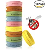Kpow Mosquito Repellent Bracelet,10pcs Insect & Bug Repellent Bands, 100% Natural & Non-Toxic, Indoor Outdoor Protection