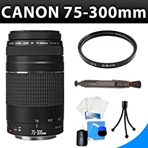 Canon EF 75-300mm f/4-5.6 III Telephoto Zoom Lens + SSE Lens Accessory Kit For Canon 5D Mark III, 5D Mark II, 6D, 70D, SL1, 60D, 7D, T5i, T4i, T3i, T3, T2i, T1i, Xsi, XS Digital SLR Camera