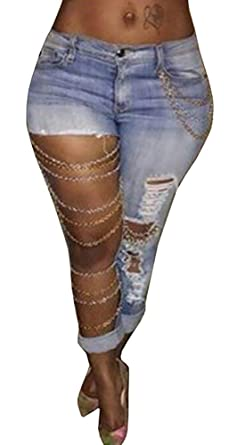 659548f08c1065 Women's Ripped Hole Denim Stretch Washed Boyfriend Jeans Trousers Small Blue