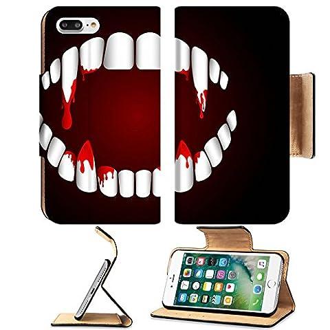 Liili Premium Apple iPhone 7 Plus Flip Pu Leather Wallet Case iPhone7 Plus22304382 Vampire teeth with on dark background - Background Illustration
