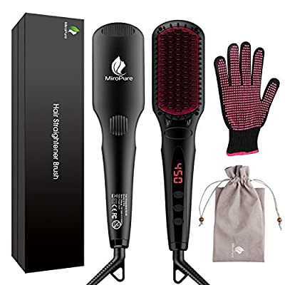 MiroPure 2 in 1 Ionic Hair Straightener Brush with Heat Resistant Glove and Temperature Lock Function (Black)