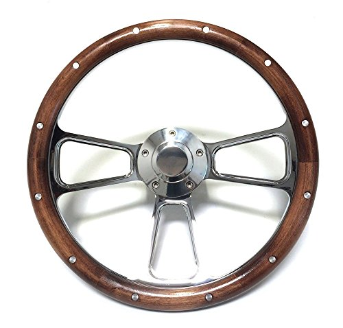 Chrome Steering Wheel Kit for Hot Rod Rat Rod w/Flaming River, Ididit, GM Column