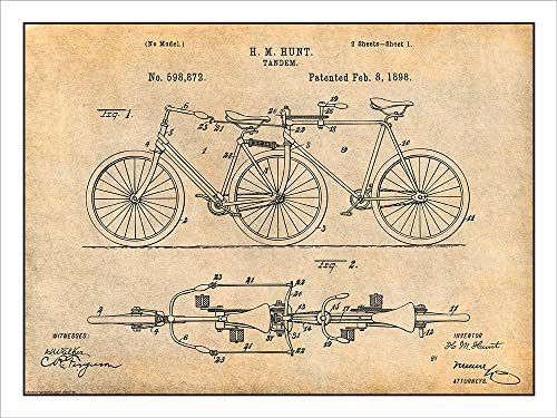 98 Hunt Tandem Bicycle Patent Print Art Poster UNFRAMED Parchment 18