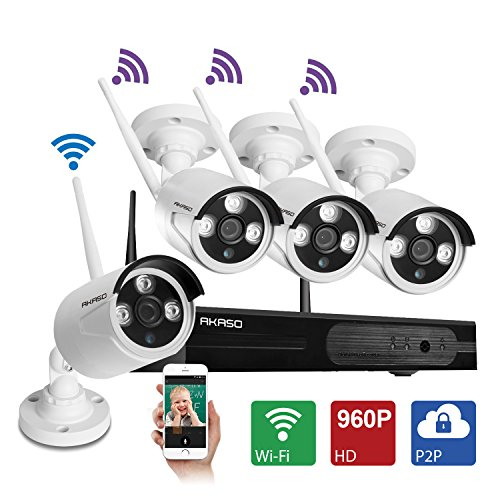 [Better Than 720P]AKASO Wireless Security Camera System Wifi Video Surveillance NVR Kits, 4CH 960P(1280 x 960), Plug&Play, P2P, Night Vision 65ft, Built-in Router, IP66 Weatherproof NO HDD (WS13M-401)