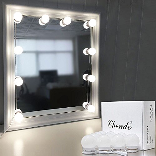 Chende Hollywood Style LED Vanity Mirror Lights Kit with Dimmable Light Bulbs, Lighting Fixture Strip for Makeup Vanity Table Set in Dressing Room (Mirror Not Include) (Lights Desk With And Mirror)
