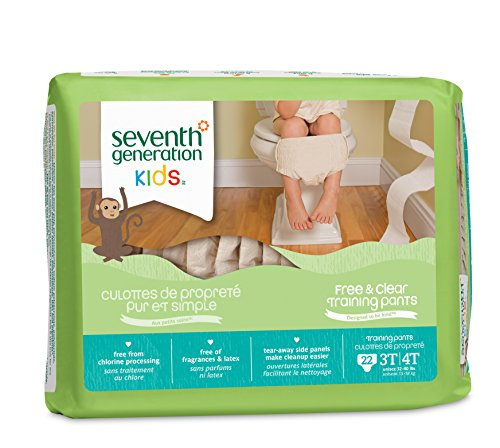 Seventh Generation Baby & Toddler Training Pants, Free & Clear, Large Size 3T-4T 32-40lbs, 22 Count (Pack of 4)