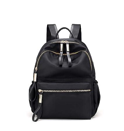 d40ac6dd4 Amazon.com: Backpack Nylon Bag Travel Oxford Cloth Bag Female Korean  Version of Leisure Canvas Simple Waterproof (Black): Sports & Outdoors