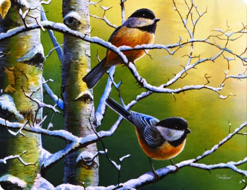 Rivers Edge Tempered Chickadees 16 Inchx12 Inchx 5 Inch product image