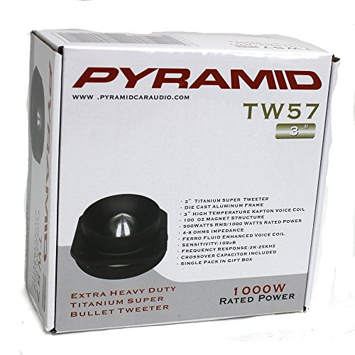 4) New Pyramid PRO TW57 3'' 4000W Titanium Car Audio Dome Bullet Super Tweeters by Pyramid (Image #7)