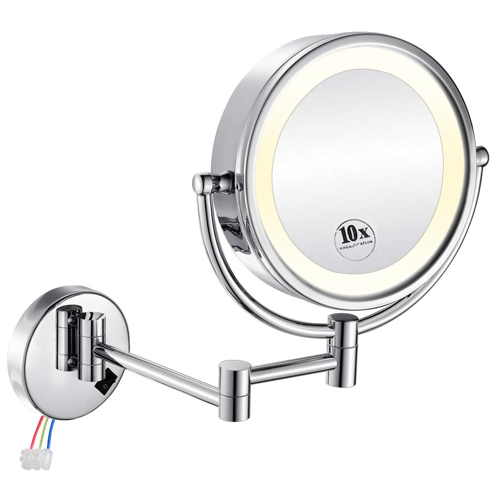 GURUN 8.5 Inch LED Lighted Wall Mount Hardwired Makeup Mirror with 10x Magnification,direct wire,Chrome Finish M1809D (10x, Chrome hardwire)