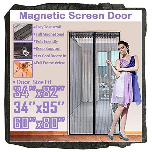 Triple Door Folding - TheFitLife 36''x97'' Magnetic Screen Door Fits doors up to 34''x96'' Max Full Frame Hook and Loop Heavy Duty Mesh