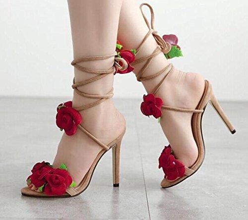 Aa-nvliangxie Spitze High Heel Sandalen, Damenschuhe, dreidimensionale Schnürsenkel, High Yards. Heels, überquerte Rosen, 42 Yards. High EU40CN41 239d63