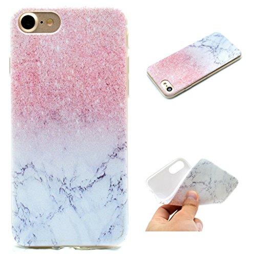"""Coque Cover iPhone 6 Plus / 6S Plus, IJIA Ultra-mince Rose et Marbre Blanc Naturel TPU Doux Silicone Bumper Case Shell Coque Housse Etui pour Apple iPhone 6 Plus / 6S Plus 5.5"""" + 24K Or Autocollant"""