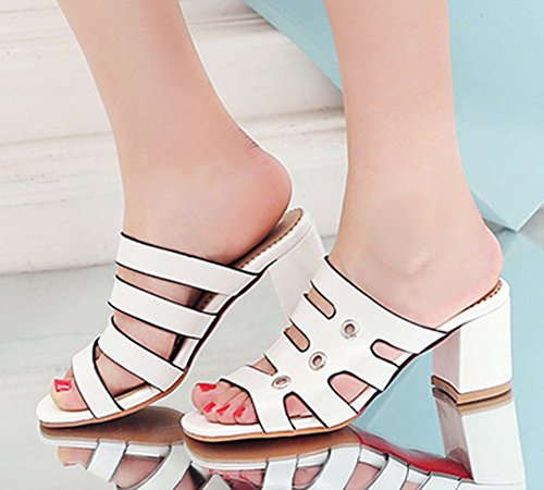 Aisun Womens Open Toe Slide Sandals - Comfort Slip On Stacked Shoes - Cutout Outdoor Party Middle Heel White EZYttSq