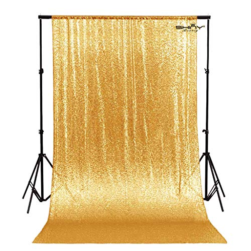 ShinyBeauty ShiDianYi 20ftx10ft-Sequins Fabric Backdrop Curtain Sequin Photo Booth Backdrop Sequin Photography (20FTx10FT, Gold) by ShinyBeauty (Image #5)
