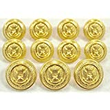 MetalBlazerButtons.com Brand GOLD CROWNED EAGLE 11-Piece PREMIUM Designer Grade METAL FASHION BUTTON SET For High-End Single Breasted Blazers, Jackets & Sport Coats ~ METALBLAZERBUTTONS.COM