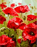 YEESAM ART New DIY Paint by Number Kits for Adults Kids Beginner - Red Poppies Flowers 16x20 inch Linen Canvas - Stress Less Number Painting Gifts