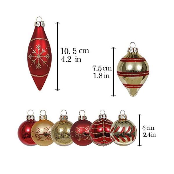 Valery Madelyn Palle di Natale Vetro Addobbi Natalizi Set, 24 Pezzi 6-10.5cm Luxury Red And Gold Palline di Natale Decoration for Addobbi Natalizi per Albero 2 spesavip
