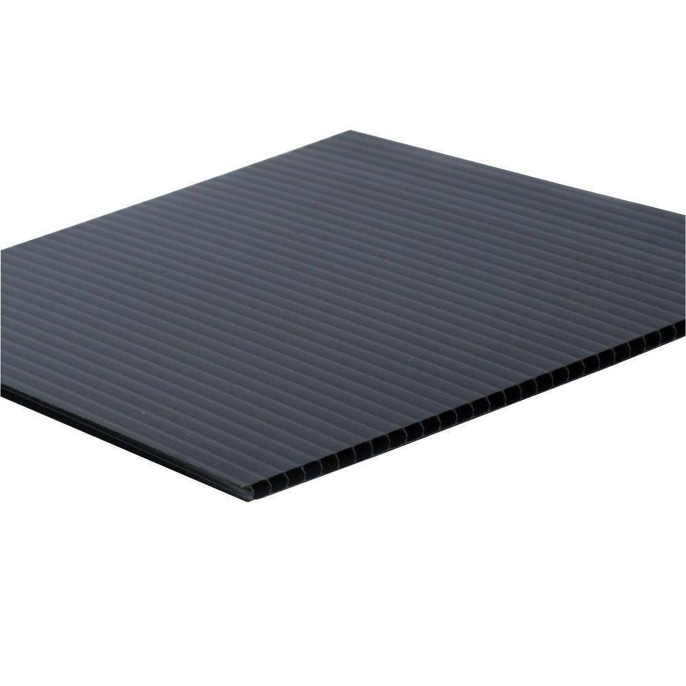Falken Design COR-BK-4MM/2448 Coroplast Sign Board, Corrugated Fluted Plastic Sheet 4mm (0.157''), 24'' x 48'' - Black, Plastic
