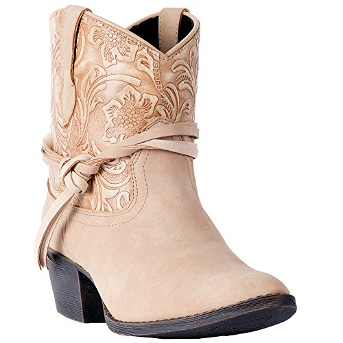 Dingo Women's Floral Tooled Knotted Strap Ankle Boot Round Toe Tan 10 M