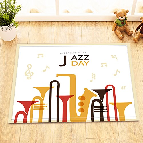 Trumpet Saxophone Music Notes Print Bath Rugs for Bedroom Bathroom, Flannel Surface Non Slip Backing, Music Theme Design Bathroom Decor Rug 15 x 23 Inches ()