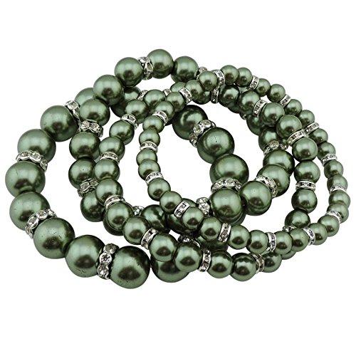 COIRIS 4pcs /Set Imitation Pearl Bracelets Crystal Women Multi Layer (BR1113-light green) - Green Imitation Pearl