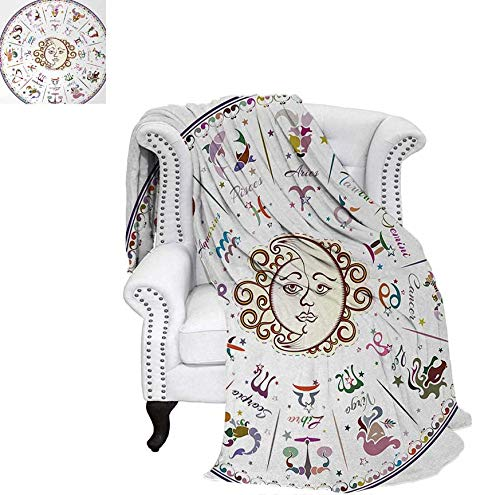 Forecast Blush - Warm Microfiber All Season Blanket for Bed or Couch Astrology Map with Descriptions Forecast for Person Future Birth Natal Earth Theme Throw Blanket 70